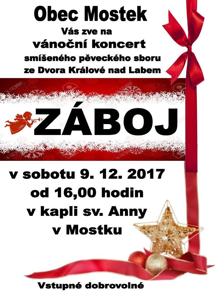 Vánoční koncert pěveckého sboru ZÁBOJ v Mostku 1