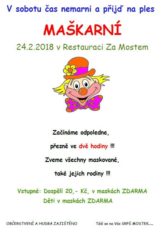 Dětský maškarní karneval Mostek 1