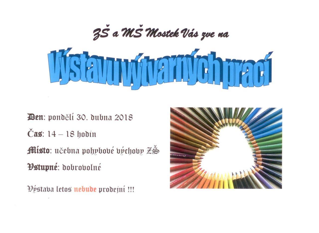 Výstava výtvarných prací v ZŠ Mostek 1